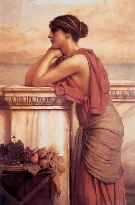 Dream-art Oil painting john william godward - by the wayside nice young girl 36""