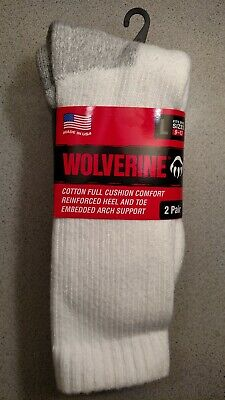 2 Pair Wolverine Men's White Large 10-13 Cushioned Steel Toe Boot Sock  Usa Made