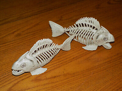 "Set of 2 New Poseable 10"" Fish Piranha Skeletons Halloween Decorations Prop"