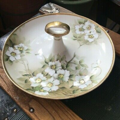 NIPPON HAND PAINTED Porcelain Candy Dish With Handle, Green Gold Gilt
