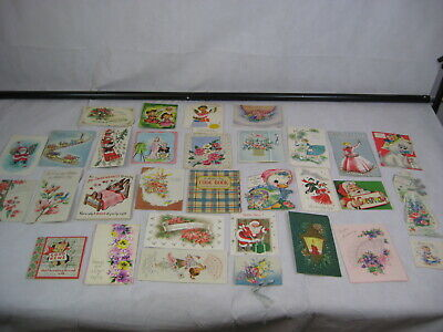 33 Vintage 1950's Greetings Cards and Gift Labels Various Occasions Used