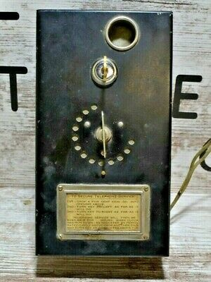 Vintage Telephone Pay Phone Coin Box With Key
