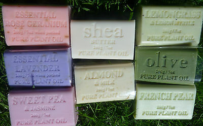 NATURAL SOAP 15 x 200gm Olive Jasmin lavender shea rose pear almond lemon Myrtle