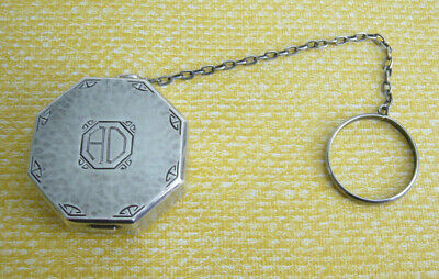 Vintage Webster Company Sterling 8 Sided Powder & Puff Compact Chain Finger Ring