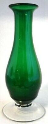 Green Art Glass Vase Clear Applied Foot Mid Century