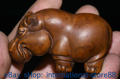 70MM Old Chinese Boxwood Hand-carved Feng Shui hippopotamus lovely Statue