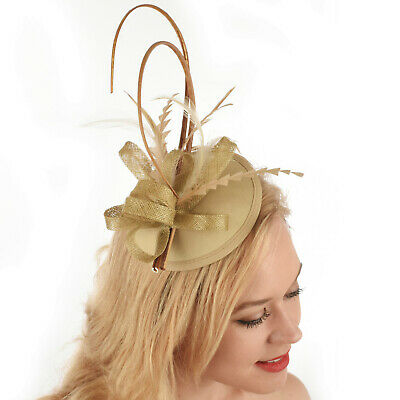 Wedding Church Evening Melbourne Cup Carnival Derby Day Gold Headband Fascinator