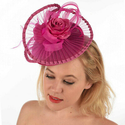 Wedding Church Evening Melbourne Cup Race Carnival Hot Pink Headband Fascinator