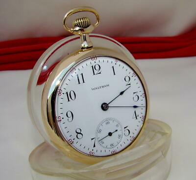 Rare 1901 WALTHAM RIVERSIDE 17 JEWELS in 14K Gold Filled Case MINT DIAL 16s RUNS