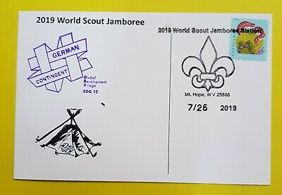 24th world scout jamboree 2019  Postmark on USPS official postcard and GERMANY