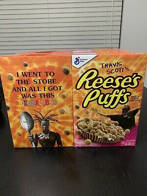 (10 Boxes)Travis Scott X Reeses Puffs Cereal Brand New Sealed Family Size Boxes