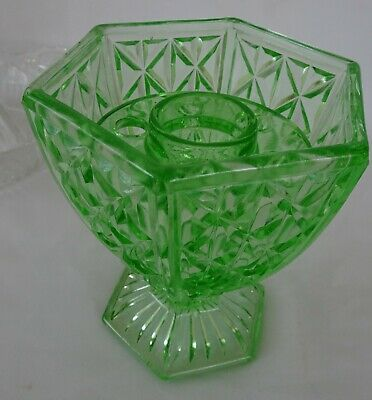 Green Depression Hexagonal Glass Vase with Frog Excellent Condition