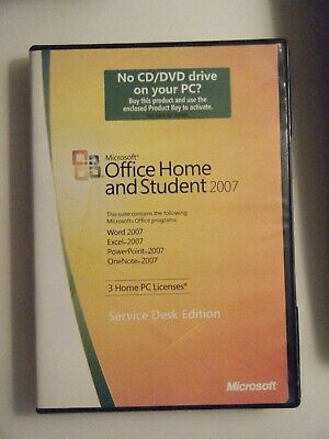 Microsoft Office Home & Student 2007 GENUINE retail 3user service desk