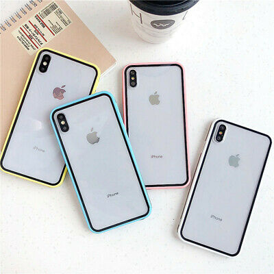 Clear Rubber Bumper Hybrid Hard Back Case Cover For iPhone Xs Max XR X 7 8 Plus