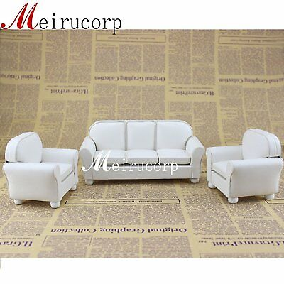 Dollhouse furniture 1/12 scale Miniature white leather Sofa and chair 3 pcs set