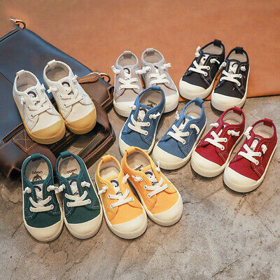 Kids Girls Boys Canvas Casual Shoes Sports Sneakers Baby Toddler Flats Trainers