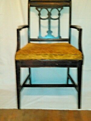 1930's Vintage Antique Neoclassic Mahogany Carved Back Dining Arm Chair