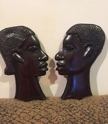 x2 Carved Wooden African Head Plaques
