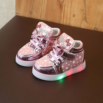 Kids Girls Cartoon LED Light Up Shoes Flashing Cute Trainers Casual Sneakers