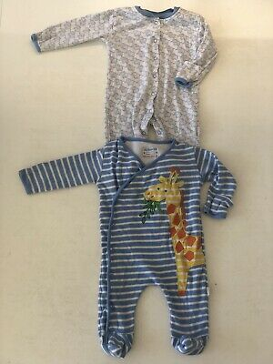 JoJo MAMAN Bebe Boys 3-6m Sleep Suits Bundle X2 Giraffe Elephants Blue Stripes
