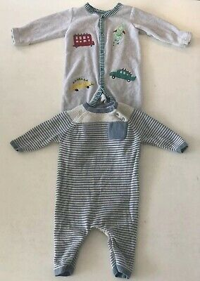Next & Nutmeg Boys 3-6m Sleep Suits Bundle X2 Knitted Blue Stripes Dinosaurs