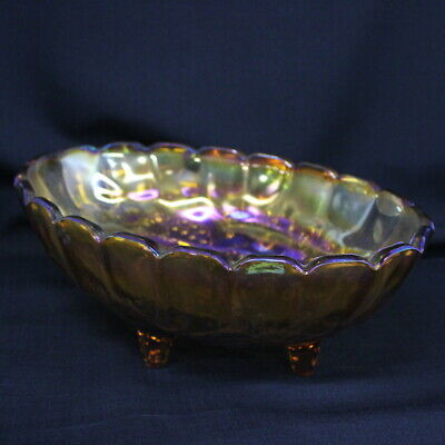 1970sIndiana Marigold Carnival Glass Harvest Pattern Footed Fruit Bowl #454
