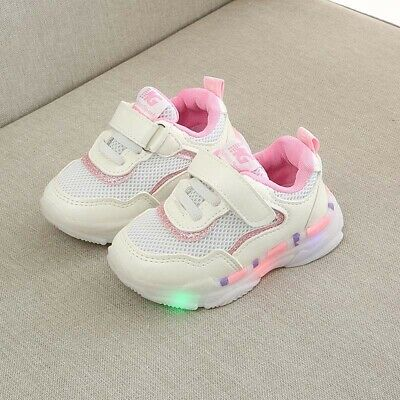 Kid Boys Girls Mesh Trainers LED Luminous Casual Sneakers Baby Toddlers Athletic
