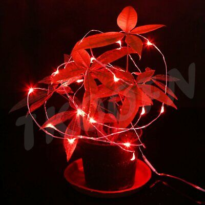 30LED Flexible Copper Wire Red Wedding Wreath Party Fairy Light Battery Operated