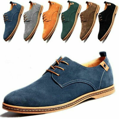 Mens Suede Leather Shoes Casual Flats Pointed Toe European Style Business Dress