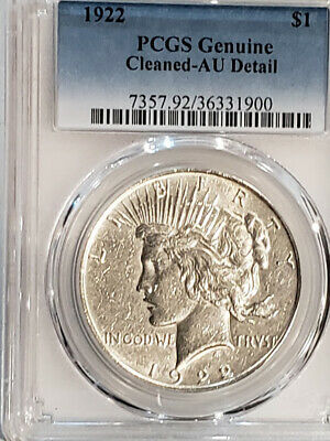 1922 Peace Silver Dollar Certified PCGS Genuine AU - Details - Cleaned