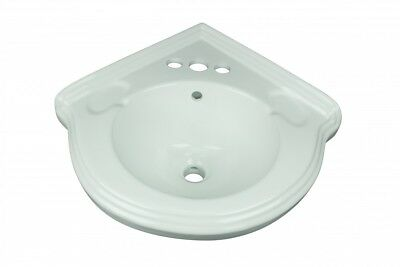 "Corner Wall Mount Small Bathroom Sink White Ceramic Vitreous China ""Portsmouth"""