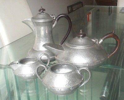 Arts And Crafts Planished Sheffield Pewter 4 Pc Tea Set-Craftsman ^