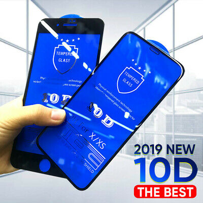 For iPhone 11 Pro Max X XS Max XR 6 7 8 10D Tempered Glass Full Screen Protector