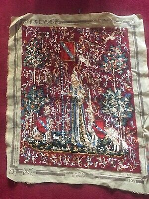 "Margot De Paris Tapestry Completed Lady And Unicorn ""Le Toucher"" 2205"