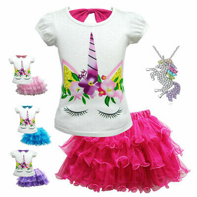 Unicorn Princess Casual Party Tutu Dress Costume necklace for Kids Baby Girls