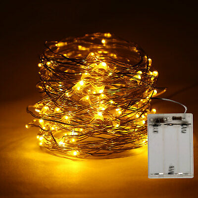 100LED Battery Powered Copper Wire Christmas Outdoor String Fairy Light Yellow