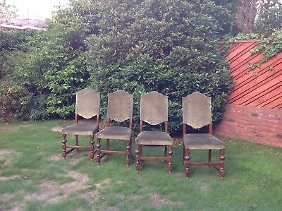 Set of 4 antique Victorian Old Charm upholstered dining chairs on turned legs