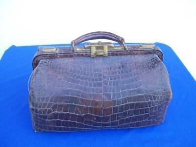 Old Antique Alligator & Brass Doctor Medicine Bag