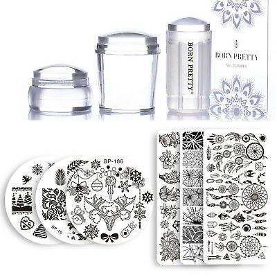 12pcs Set Nail Art Stamping Plates Stamper Scrapers Kit Multi Shape and Themes