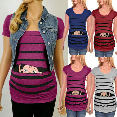 Women Maternity Cute Baby Print Striped Short Sleeve Shirt Pregnant Top Blouse G
