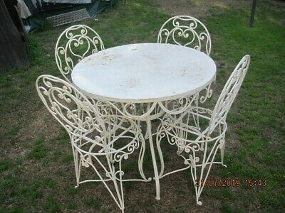 Outdoor Metal Garden Setting Table And Chairs Wrought Iron White