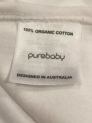 Purebaby Organic Cotton Baby Wrap 100% Organic Cotton White With Blue Feather