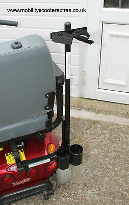 Mobility Scooter Quality  HD Double Crutch Walking Cane Stick Holder Carrier New