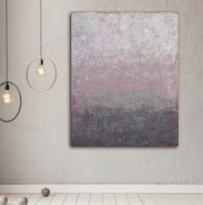 original modern abstract painting large wall art vintage rose gray gold texture