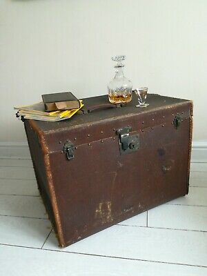 Large steamer trunk, wood leather hessian canvas, vintage, shabby chic, army
