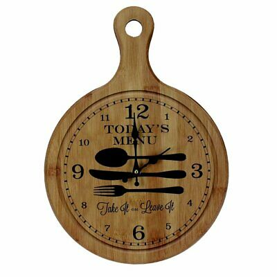 Today's Menu Wall Clock Antique Kitchen Home Choping Board Style - W7823