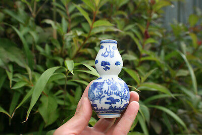 Chinese Porcelain Blue and White Dragon Small Gourd Vase - Marks