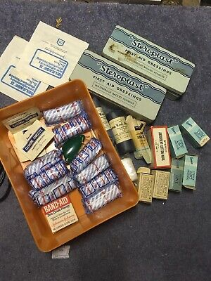 Box Of Old First Aid Medical Kit Plasters Bandages Tins Etc Advertising Props