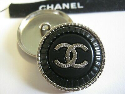 CHANEL  3 CC  LOGO BLACK SILVER  22mm BUTTONS THIS IS FOR THREE