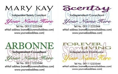 BUSINESS CARDS 50 Mary Kay Scentsty Arbonne Forever Living Consultants
